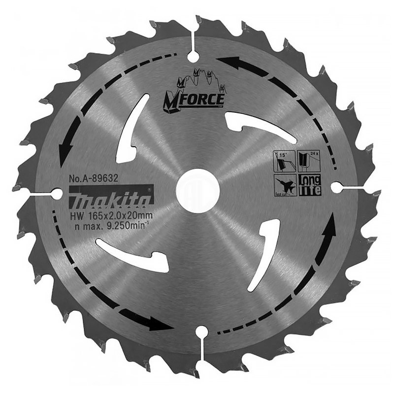 Lame carbure bois MAKITA A-89632 MForce 24 dents Ø165 mm