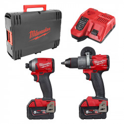 Pack 2 outils MILWAUKEE M18FPP2A2-502X (Perceuse à percussion M18 FPD2 + Visseuse à chocs M18 FID2) 2 x 5,0 Ah
