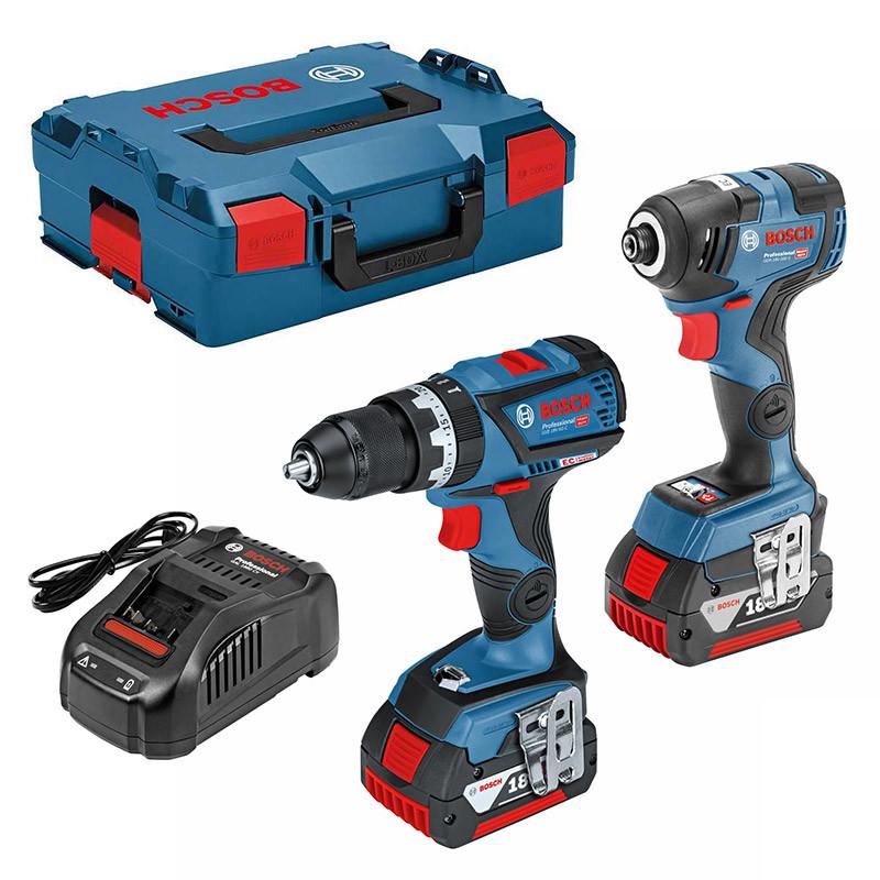 Pack 2 outils BOSCH Professional 06019G4172 (GSB 18V-60C + GDR 18V-200 C) 18V (2 x 5,0 Ah)