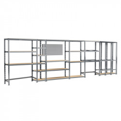 Concept rangement de garage MODULÖ STORAGE (SYSTEME EXTENSION) de 605 cm de long (6 étagères 24 plateaux)