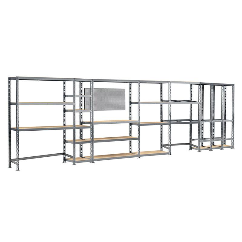 Concept rangement de garage MODULÖ STORAGE (SYSTEME EXTENSION) de 405 cm de long (6 étagères 24 plateaux)