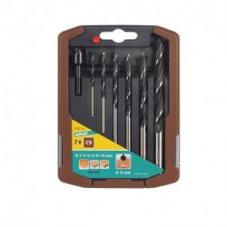Coffret de 6 forets à bois hélicoidaux CV + 1 fraisoir WOLFCRAFT 7107000