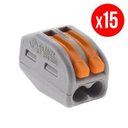 Pack de 15 bornes de connexion rapide a levier WAGO 2 entrées fil souple et rigide - S222