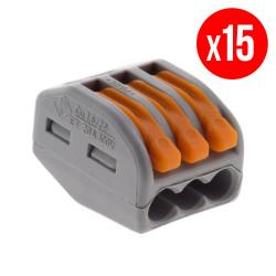 Pack de 15 bornes de connexion rapide a levier WAGO 3 entrées fil souple et rigide - S222