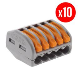 Pack de 10 bornes de connexion rapide a levier WAGO 5 entrées fil souple et rigide - S222