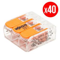 Pack de 40 bornes de connexion rapide a levier WAGO 3 entrées fil souple et rigide - S221