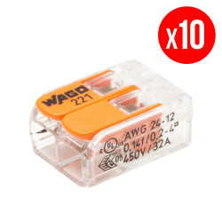 Pack de 10 bornes de connexion rapide a levier WAGO 2 entrées fil souple et rigide - S221