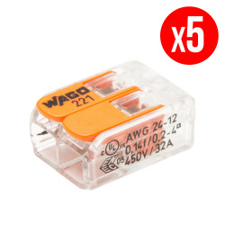 Pack de 5 bornes de connexion rapide a levier WAGO 2 entrées fil souple et rigide - S221