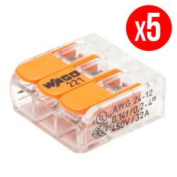 Pack de 5 bornes de connexion rapide a levier WAGO 3 entrées fil souple et rigide - S221