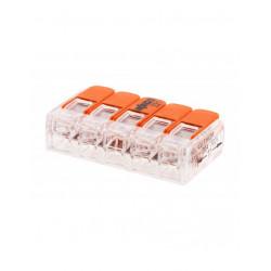 Pack de 3 bornes de connexion rapide a levier WAGO 5 entrées fil souple et rigide - S221