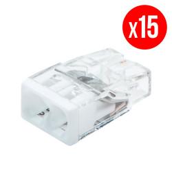 Pack de 15 bornes de connexion rapide a levier WAGO 2 entrées fil rigide - S2273