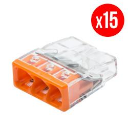 Pack de 15 bornes de connexion rapide a levier WAGO 3 entrées fil rigide - S2273