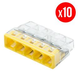 Pack de 10 bornes de connexion rapide a levier WAGO 5 entrées fil rigide - S2273