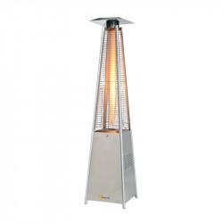 Chauffage Mobile Parasol SOVELOR LOUXOR inox avec tubes quartz au gaz propane de 5 à 13 KW