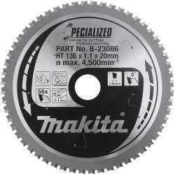 Lame carbure ''Specialized'' Inox et Métal MAKITA B-23086 pour scies circulaires à métaux à batterie