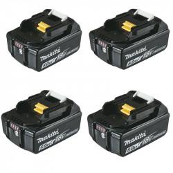 Pack 4 Batteries MAKITA BL1850B Li-ion 18 V / 5 Ah (témoin de charge intégré)