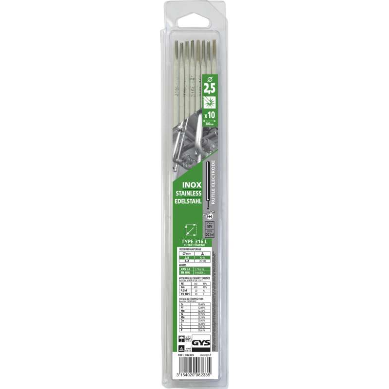 10 Électrodes inox 316L Ø 2,5 mm GYS 082335