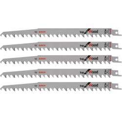 Lot de 5 lames de scie sabre S 1542 K BOSCH 2608650682 pour bois