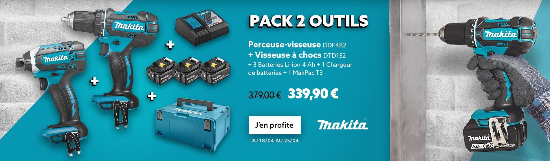 Pack 2 outils MAKITA DLX2127MJ1 (DDF482 + DTD152) 18 V Li-Ion (3 x 4 Ah)