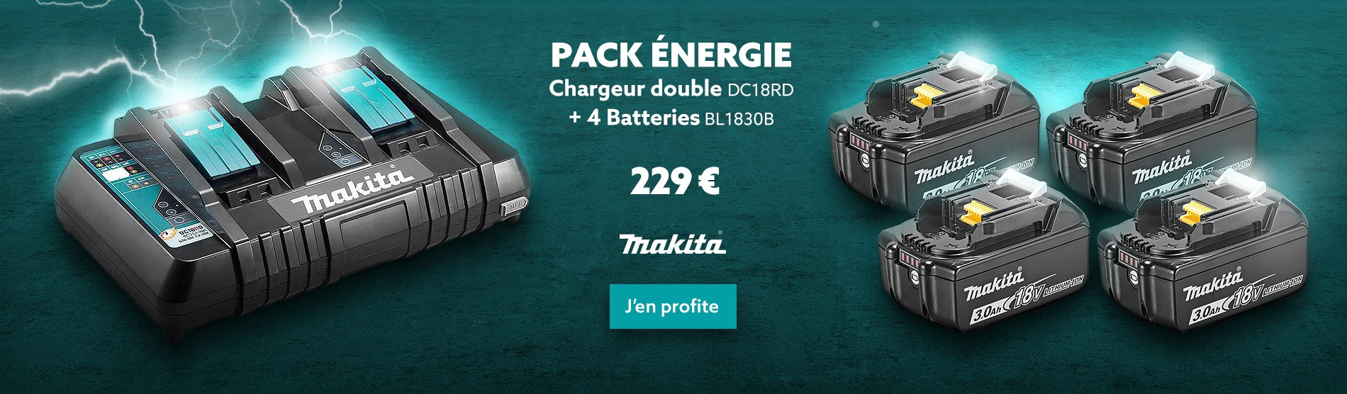Pack Chargeur double MAKITA DC18RD + 4 Batteries BL1830B