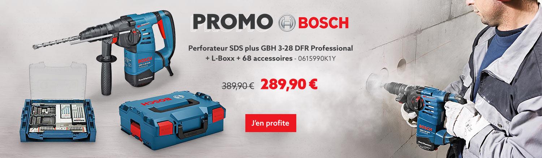 Promo BOSCH - Perforateur SDS plus BOSCH GBH 3-28 DFR Professional + L-Boxx + 68 accessoires